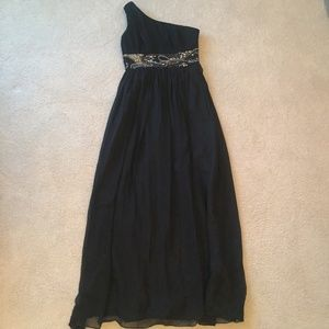 Camille La Vie Black One Shoulder Beaded Gown
